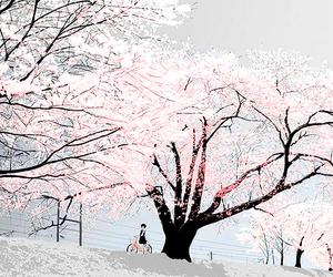 anime, tree, and white image