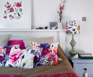 bedroom, flowers, and bed image