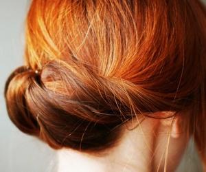 red hair bun image