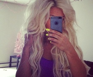 hair, blonde, and nails image