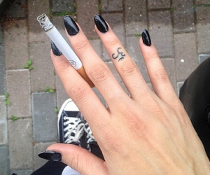 cigarette, tattoo, and nails image