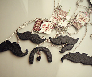 mustache, necklace, and moustache image