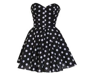polka dots, black, and dress image