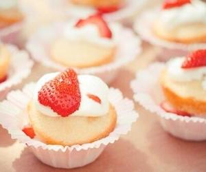 food, strawberry, and cupcake image