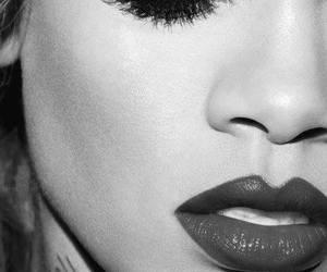 rihanna, lips, and black and white image