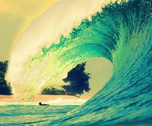 beach, water, and wave image