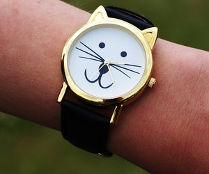 cat, clock, and watch image