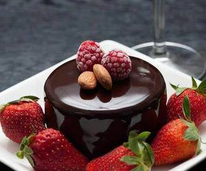 strawberry, chocolate, and cake image