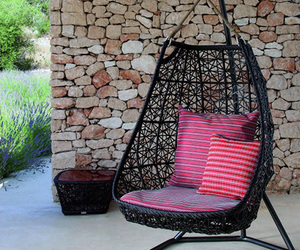 garden, pink, and swing image