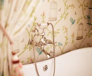 bathroom, wallpaper, and bath image