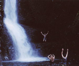 waterfall, water, and friends image