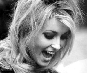 sharon tate, blonde, and black and white image