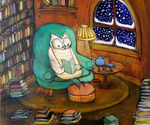 book, owl, and snow image