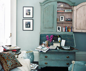 apartment therapy, blue, and living space image