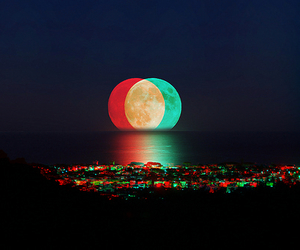 colorful, moon, and sea image