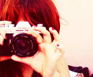camera, girl, and red image