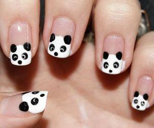 panda, nails, and nail art image