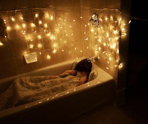 light, bathroom, and bathtub image