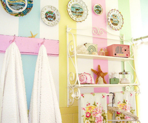 pastel, bathroom, and colorful image
