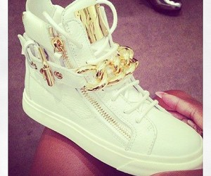gold, sneakers, and white image