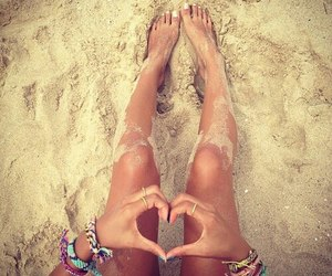 beach, summer, and heart image