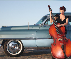 bass, old car, and girl image