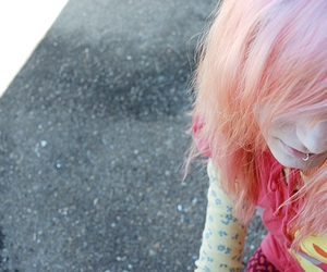 girl, lip ring, and pink image