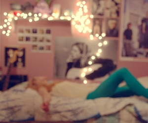 bed, girl, and pink image