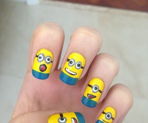 nails, minions, and nail polish image