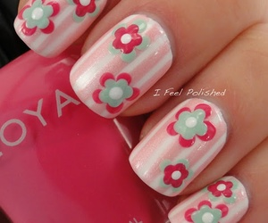 dots, flowers, and nails image