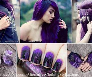 nails, purple, and hair image