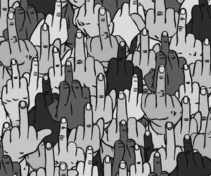 black and white, finger, and fuck you image