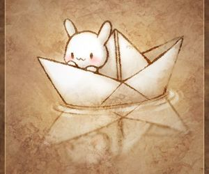 Paper, boat, and kawaii image