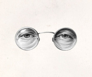 black and white, glasses, and jhon lennon image