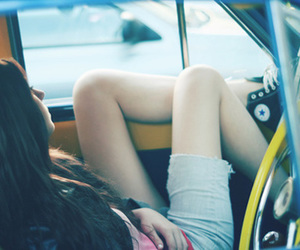 brunette, shorts, and car image