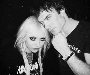 ian somerhalder, Taylor Momsen, and black and white image