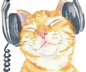 cat, headphone, and music image