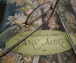 glasses, book, and jane austen image