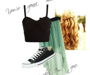 converse, Polyvore, and hi-lo skirt image