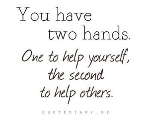 quote, help, and hands image