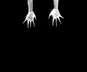 anime, black and white, and hands image