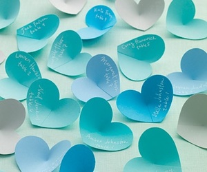 blue, heart, and hearts image
