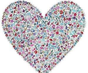 love, heart, and flowers image