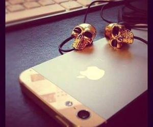 iphone, skull, and gold image