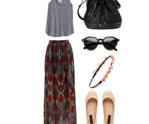 backpack, maxi skirt, and outfit image