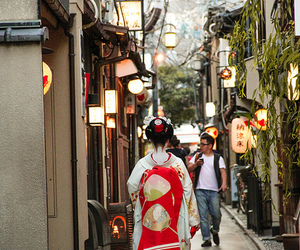 city, geisha, and japan image