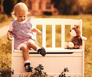 bench, blonde, and child image