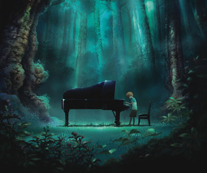 forest, piano, and anime image