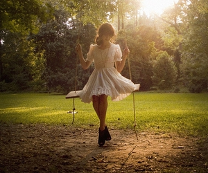 girl, swing, and dress image