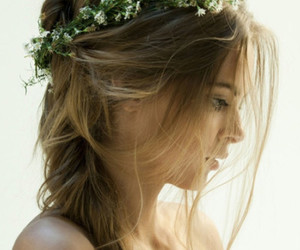 braid, hair, and floral headband image